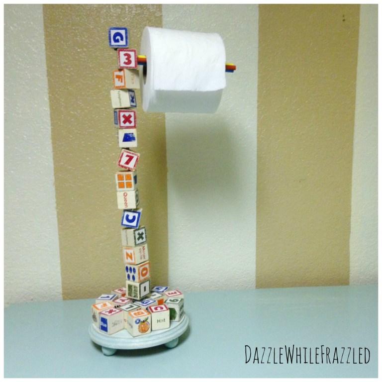 Wood Letter Block Toilet Roll Holder