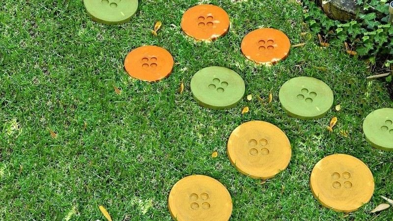 Garden Stepping Stones Shaped Like Buttons
