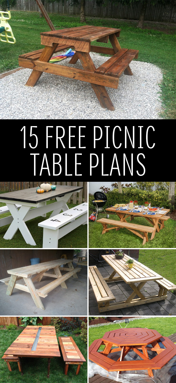 15 Free Picnic Table Plans In All Shapes And Sizes