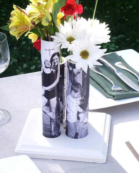 photo vases from PVC pipe