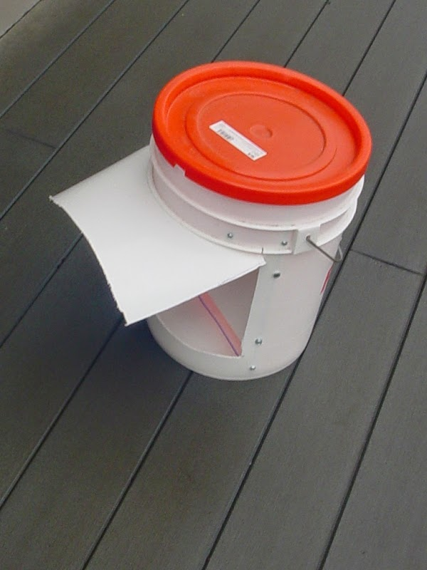 Five Gallon Bucket Chicken Feeder with Rain Shield