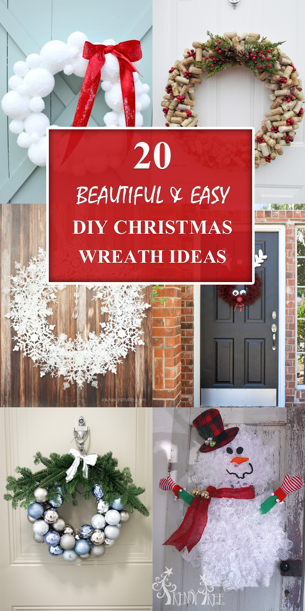 20 Beautiful and Easy DIY Christmas Wreath Ideas