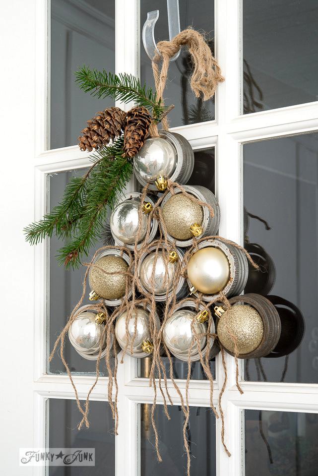 Mason Jar Lid Ornament Christmas Tree Wreath