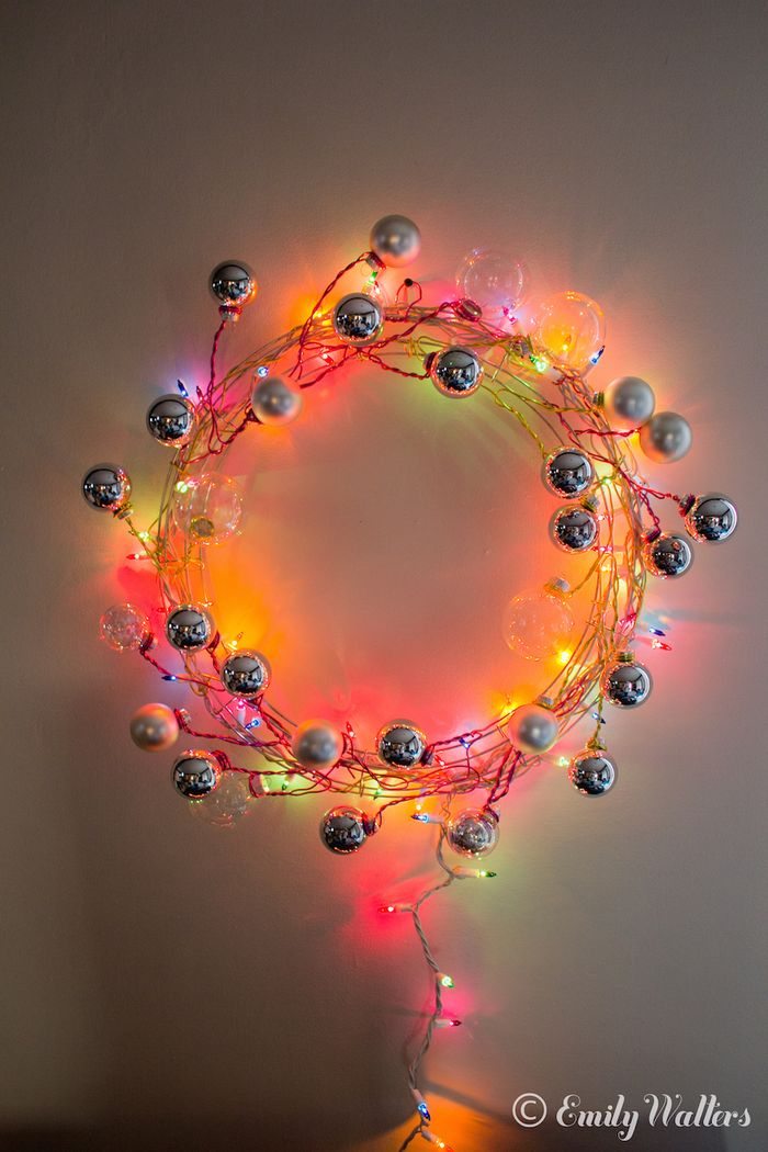 Modern Wire and Ornament Wreath