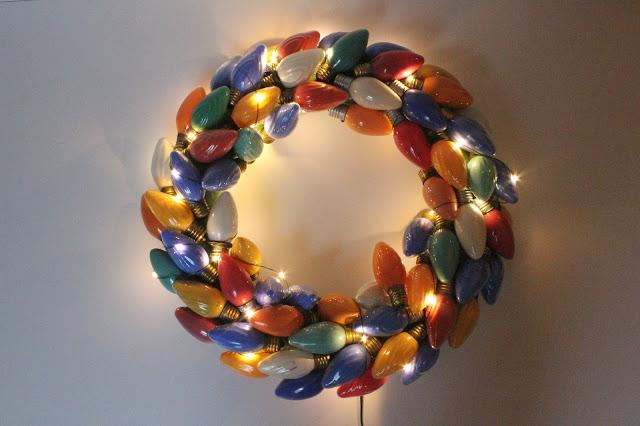 Vintage Christmas Lights Wreath