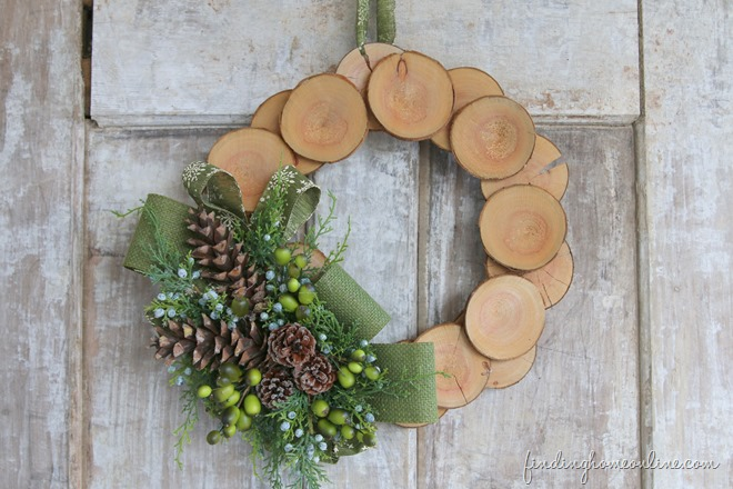 Wood Slice and Burlap Wreath