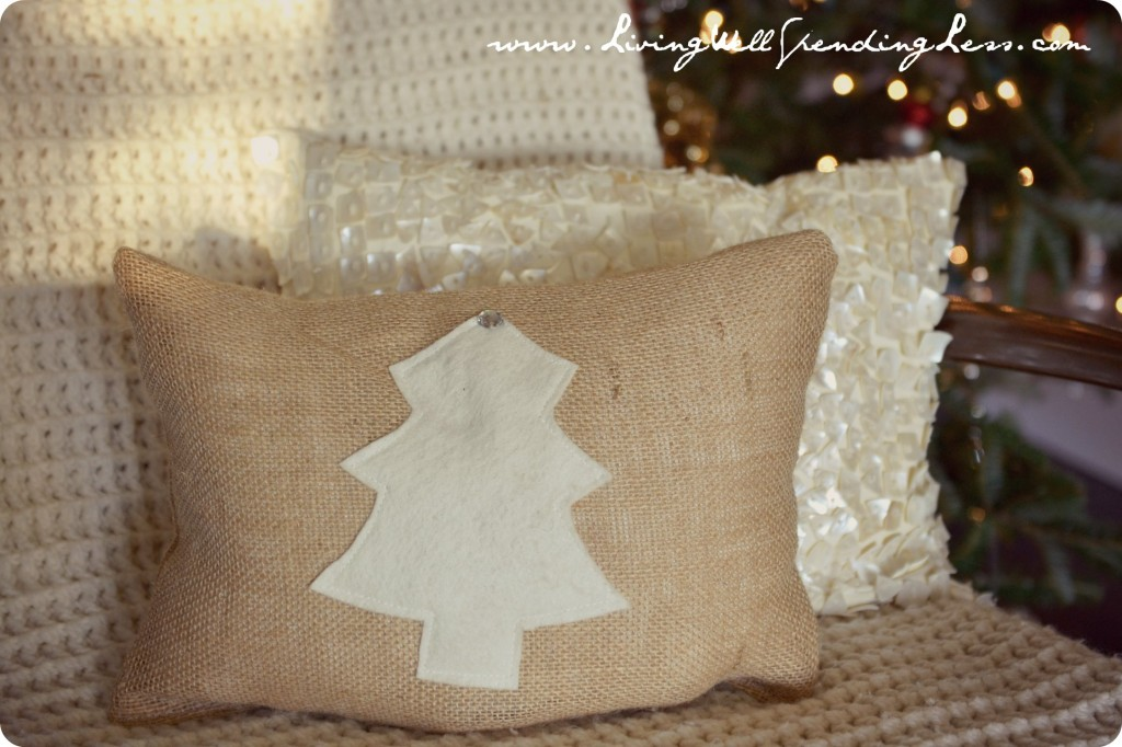 burlap pillow