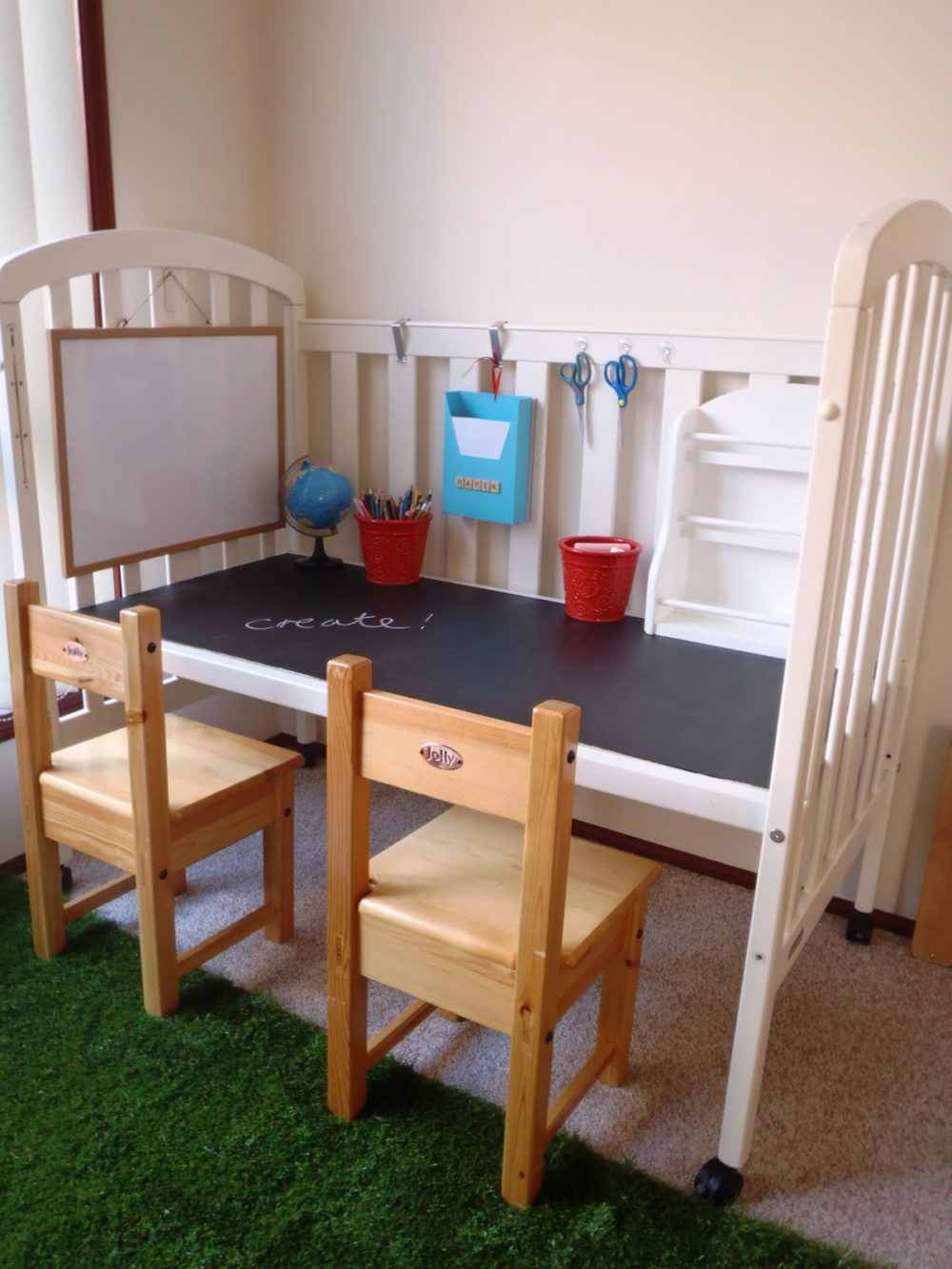 Baby Crib into Kid's Desk
