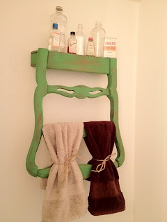 Old Chair Into Towel Rack