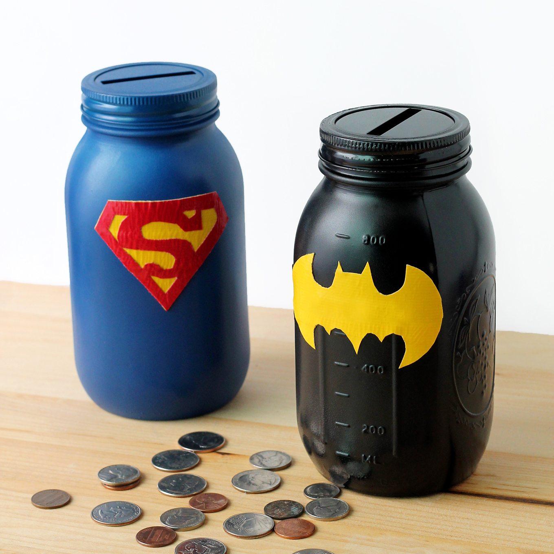 Mason Jar Superhero Banks