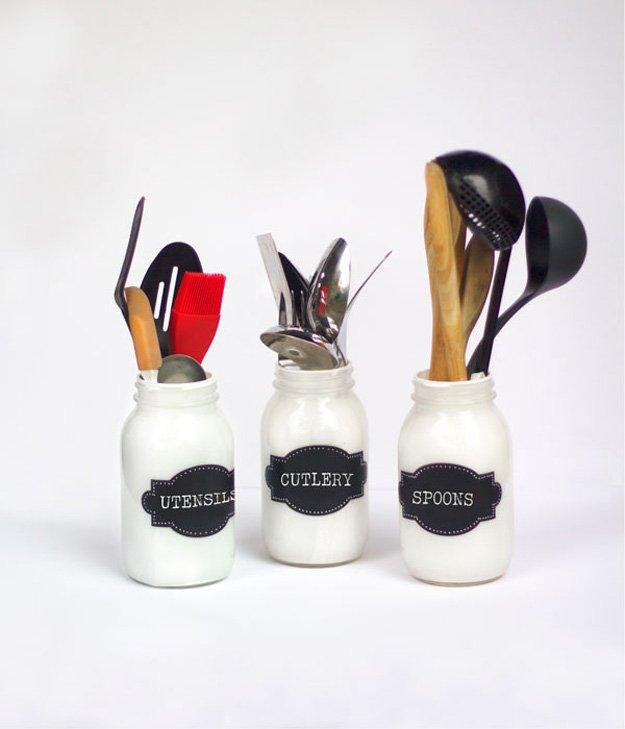 Painted Mason Jar Utensil Holders