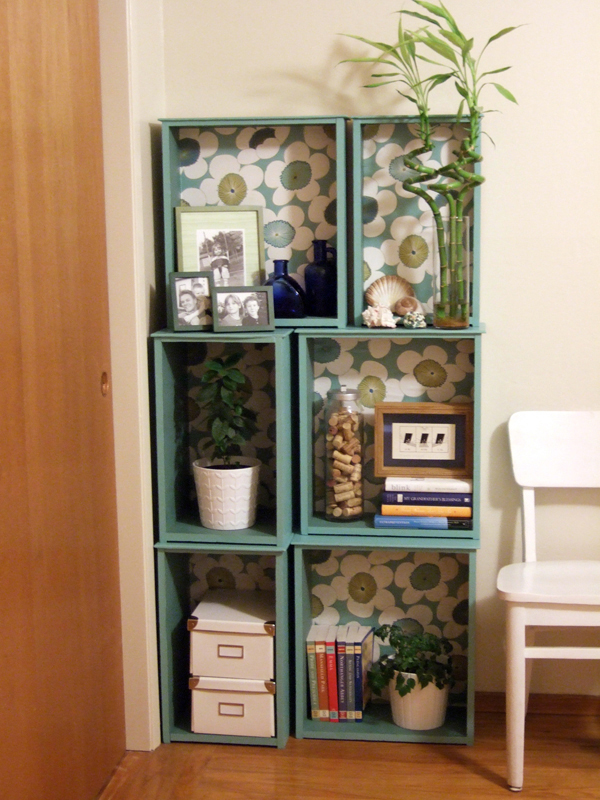 Modular Bookcase out of Salvaged Drawers