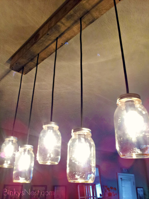 Mason Jar and Rustic Pallet Light Fixture