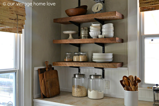 Reclaimed Wood Kitchen Shelving