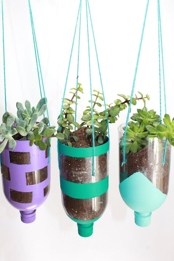Hanging Planters from Recycled Water Bottles