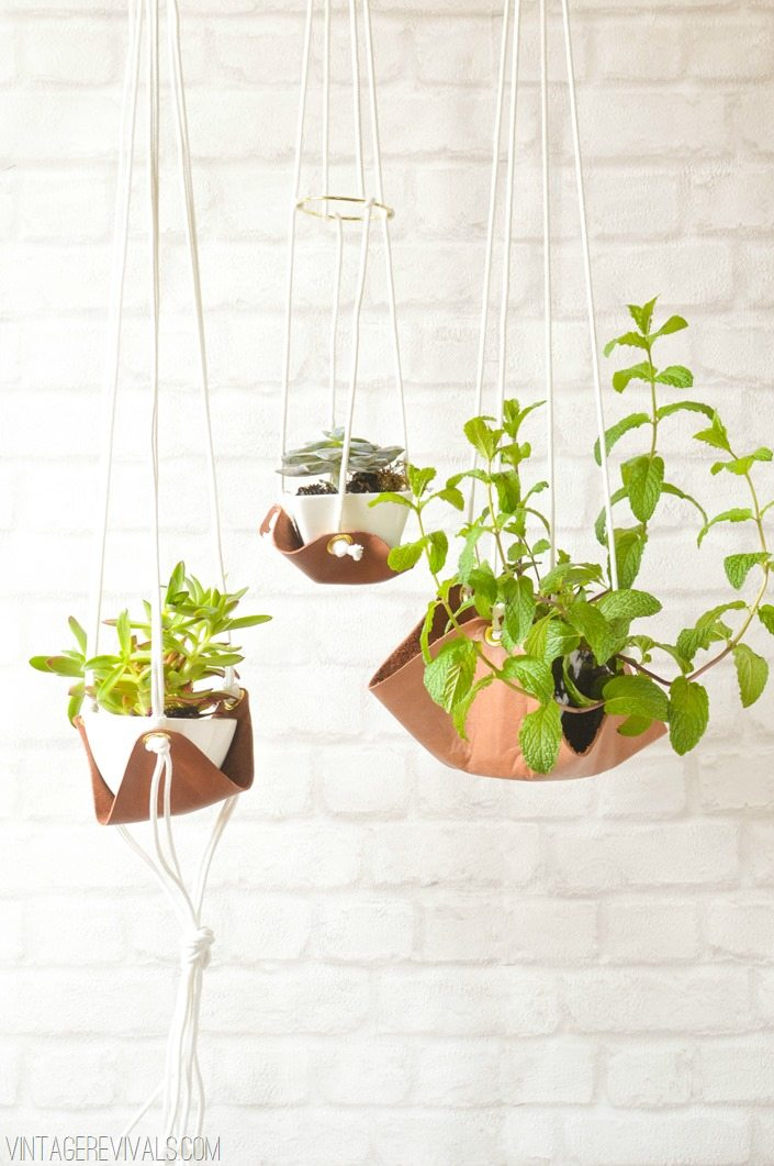 Slouchy Leather Sling Planters