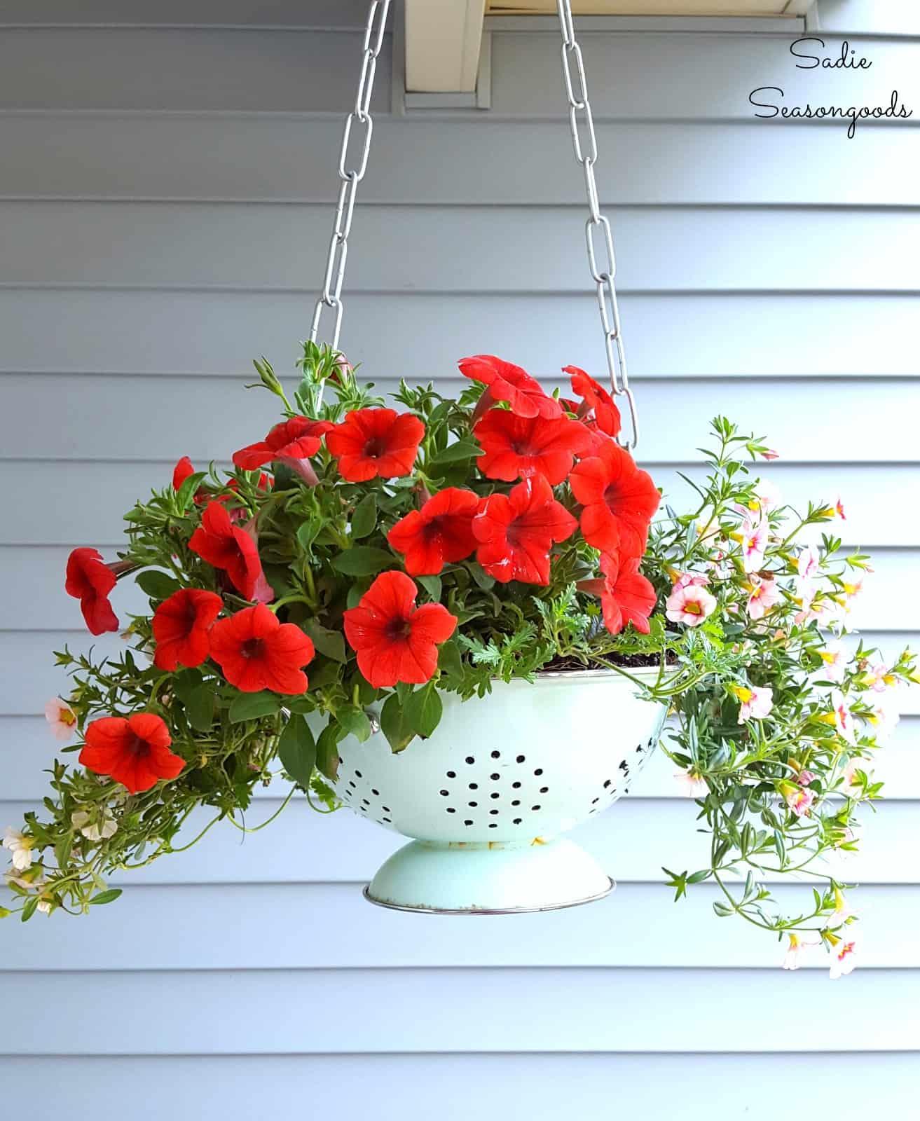 Vintage Enameled Colander Hanging Basket Planter