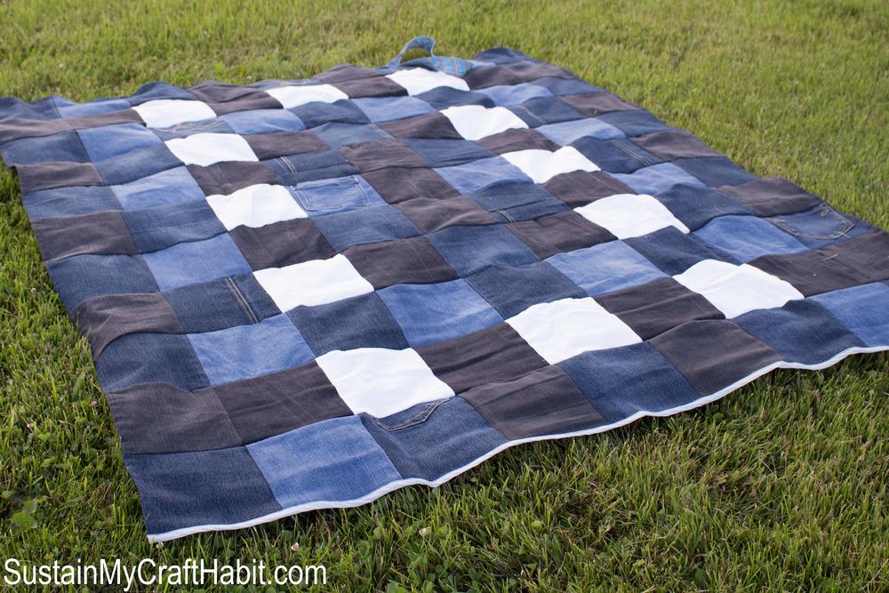 Repurposed Denim Checkered Picnic Blanket