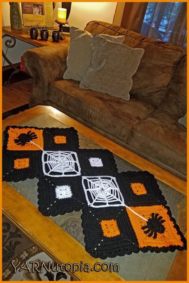 Spooky Halloween Crochet Table Runner