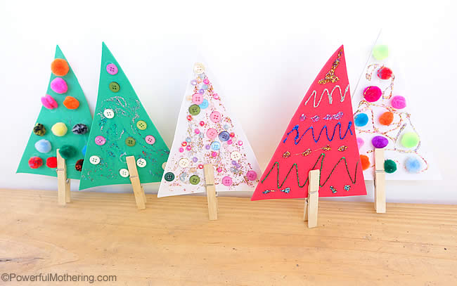 Easy Clothespin Christmas Trees