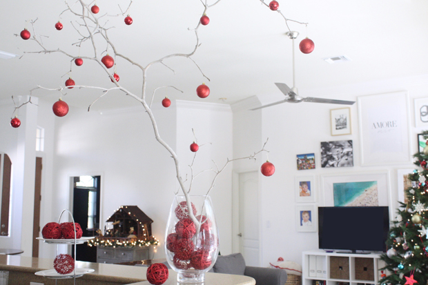Easy Christmas branch centerpiece