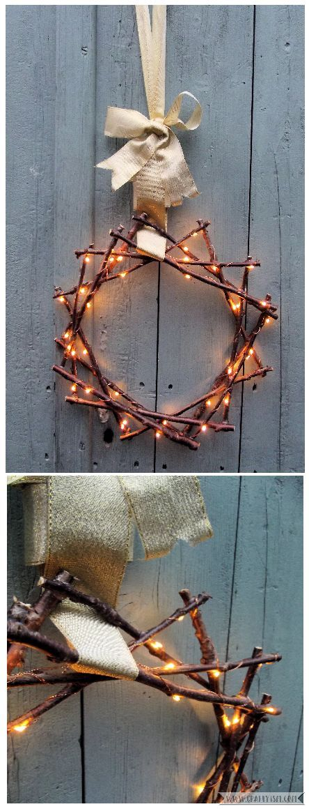 Fairy Light Twig Star Wreath