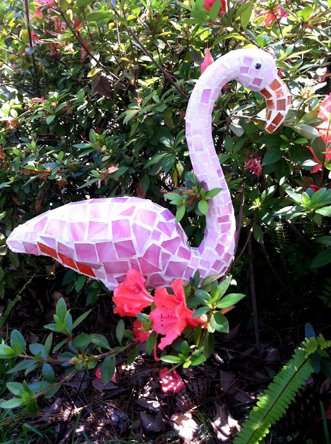 Flamingo Mosaic Garden Art