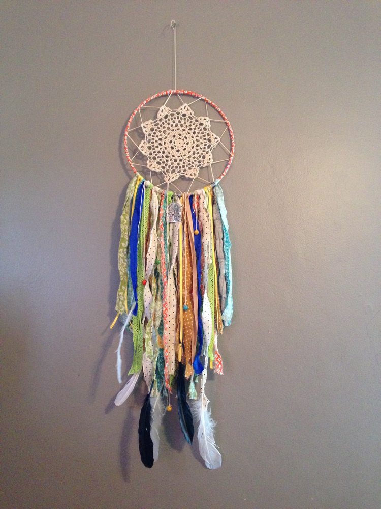 Fabric Scrap and Doily Dreamcatcher