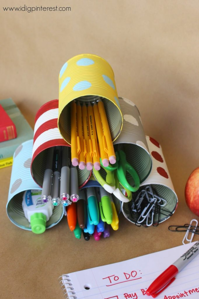 Turn tin cans into a desk organizer